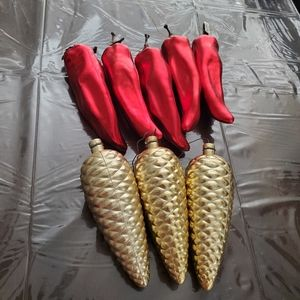 Chili Pepper & Pinecone Ornament Bundle